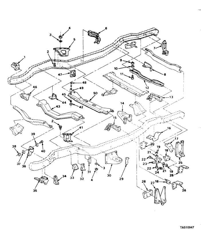 Figure 111 Frame Assembly Related Parts All Except M1009